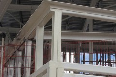 Installation of glazing and steel framework into a building