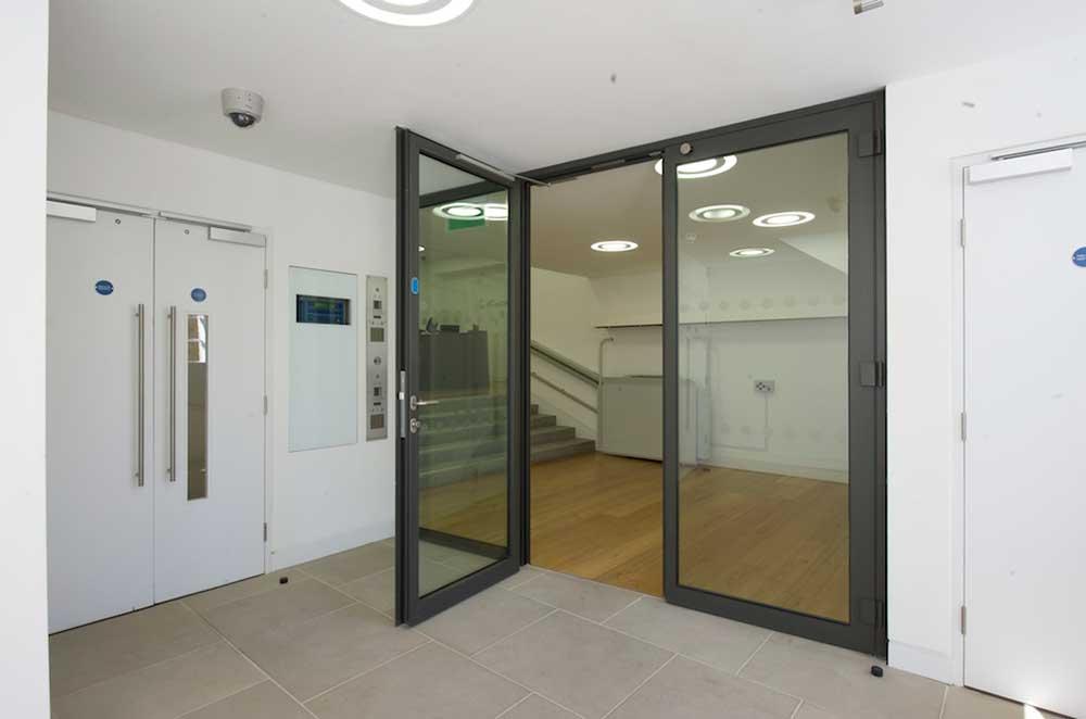 Fire & smoke resistant doors stairwell perspective