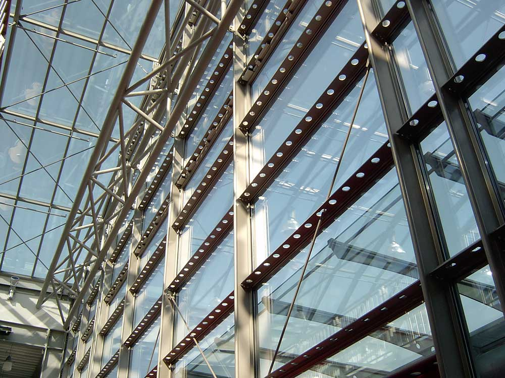T-Series interior perspective of steel framework and glazing