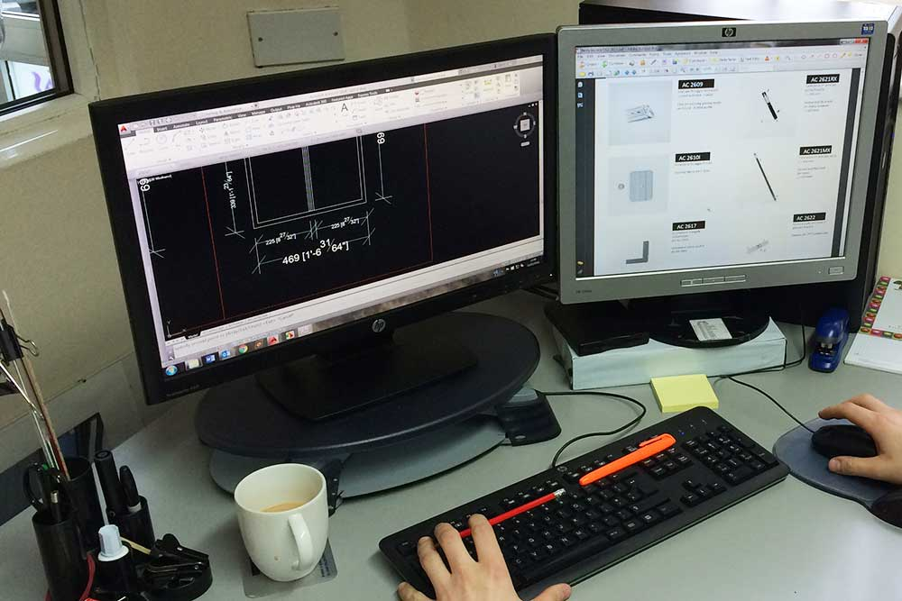 Technical Support example of cad drawings on computer