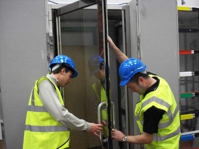 Training Support example of glazed door installation