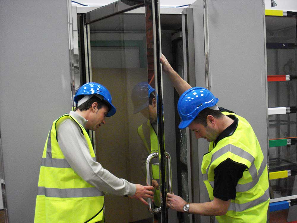 Training Support example of glazed door installation