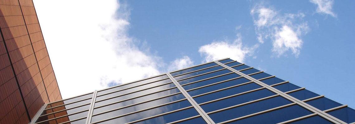 Glazed curtain wall blue sky image