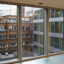 Sound Reduction Curtain Wall interior view onto offices
