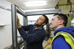 Training in advanced glazing system fitting at Wrightstyle